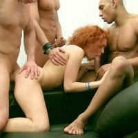 Sexy cleaner got fucked hard by 3 clients